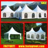 Weißes Belüftung-Wand-hohe Spitzen-Pagode-Zelt schloß für grösseren Platz an