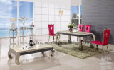 Таблица верхней мраморный нержавеющей стали обедая для живущий мебели комнаты