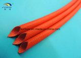Chemise rouge ignifuge de fibre de verre de silicones pour la protection isolante