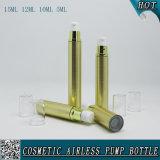 Botella de plástico sintética cosméticos de la loción del oro con la bomba