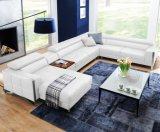 Sofá do sofá do couro genuíno com o sofá do canto do couro da forma de U para a mobília da sala de visitas