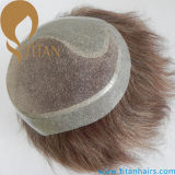 Medium Blond Color Hair System Toupee para homens