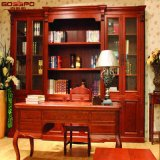 Boekenrek van de Boekenkast van de boekenkast het Stevige Houten met het Bureau van de Studie (GSP18-032)
