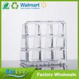 Organizador cosmético de cristal da composição da caixa da base transparente do picosegundo de 9 cubos