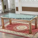 Tabella lunga con la parte superiore di vetro ed il disegno dell'acciaio inossidabile per sala da pranzo