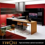 Kundenspezifisches modernes natürliches Furnier-Blatt und hoher Glanz-weißer Küche-Schrank