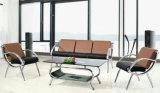 Самомоднейшая софа офиса кожи мебели с основанием металла
