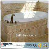 Bordures beiges de baquet de douche de surface de Matt de tuiles de marbre