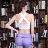 Le yoga arrière sexy court blanc/de noir réservoir de dessus investit la lisse de gymnastique