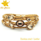 Mode en acier inoxydable avec bracelet en cuir véritable