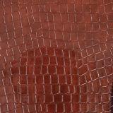 Cuero sintetizado grabado del PVC del cocodrilo para los bolsos