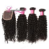 Fechamento Curly brasileiro não processado cru 4*4 do laço do cabelo humano de 100%