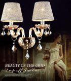 Cristal de lumière de mur monté par ampoule simple de luxe pour le chevet de chambre à coucher