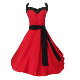 Платья Rockabilly женщин Halter знаменитости красные выравниваясь с поясом