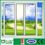 Окно высокого качества двойное стеклянное алюминиевое сползая с решеткой