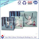 주문을 받아서 만들어진 디자인은 꼬이는 손잡이를 가진 효력 색깔 Kraft 종이 봉지를 박판으로 만들었다