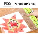 El abrigo plástico del estiramiento del PE respetuoso del medio ambiente de la categoría alimenticia se aferra película en el rodillo con el rectángulo de papel