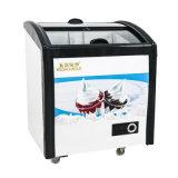 Baixo consumo que desliza o congelador de vidro de revestimento endurecido do gelado das portas
