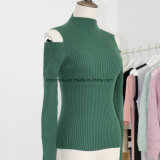 Señora Ribbed Stretch Sweater con el hombro del rocío y el cuello falso de las fundas largas