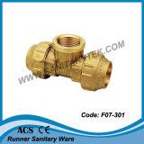 Te de cobre amarillo del extremo de la compresión para el tubo del PE (F07-303)