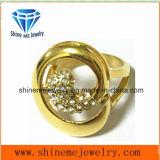 Het Goud van het roestvrij staal met de Ring van de Vinger van de Manier van CZ (SCR2881)