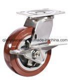 Seitliche Bremsen-Hochleistungsfußrolle, PU-Hochleistungsfußrolle