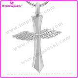 New Memorial Angel Wing Cross Bijouterie en crème en acier inoxydable