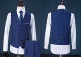 Vestiti blu di affari dei vestiti di modo dell'assegno del Mens delle 3 parti