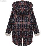 فعليّة حجم شتاء معطف طويل كم تدقيق سائبة حمراء يدرج كنزة مع [سود] [هووديس]