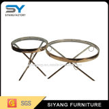 緩和されたガラスの上が付いているステンレス鋼の側面のコーヒーテーブル