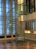 Escaliers spiralés en verre de /DIY d'escalier en verre de DEL/escalier spiralé sûreté en verre moderne