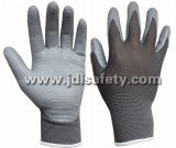 Перчатки связанные нейлоном работая с перчаткой нитрила пены Coated (N1566)