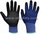 Gant en nylon bleu de travail avec la paume d'unité centrale enduite (PN8004-15B)