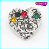 2015 Moda Alloy Metal Bulk Heart Shape Pins com strass