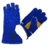 Голубая перчатка работы заварки ладони Split кожи коровы--6535