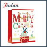 Saco de papel de compra impresso do presente do Feliz Natal do papel revestido da promoção