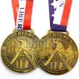 Medaille des Metallkleine Art-Andenken-Gebrauch-Antike-Gold3d mit Farbband