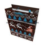 Bolsa de papel azul brillante de arte de la impresión de Cmyk con la maneta de la cinta