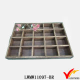 Recycled Fir Wood Table Storage Bandejas divididas com alças de corda