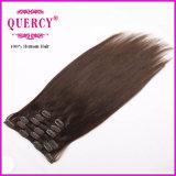 黒人女性のための毛の拡張の毛の拡張人間の毛髪の拡張加工されていないクリップの二重よこ糸200gクリップ