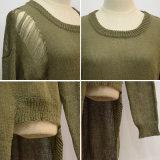 Сломанный женщинами свитер рубчика сетки несимметричный