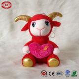Jouet mou rouge de bonne chance de moutons de peluche d'amour du cadeau des Valentines