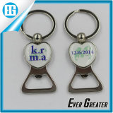 Circular azul Custom Logo Key Chain com Epoxy Sticker