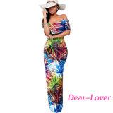 Marine-Blau-Rose-Druck Weg-DSchulter Maxi Kleid