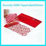 Material evidente del vacío de la garantía del pisón adhesivo de encargo; Escritura de la etiqueta del vacío de la seguridad
