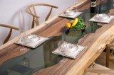 新しいガラス上のクルミの木製のダイニングテーブルはセットした(CG-019)
