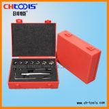Höhenflossenstation-Minischerblock eingestellt mit rotem Plastikkasten