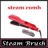 El vapor cuidado del cabello de cerámica plancha de pelo de cepillo