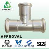 Hochwertiges Inox, das gesundheitlichen Edelstahl 304 316 Presse-passende Rohrfitting-Feld-Namen-Rohr-Stück-Erdgas-Rohrfittings plombiert