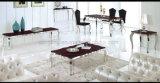 贅沢なデザイン上の赤い大理石の波状の金属のダイニングテーブル(A8027)